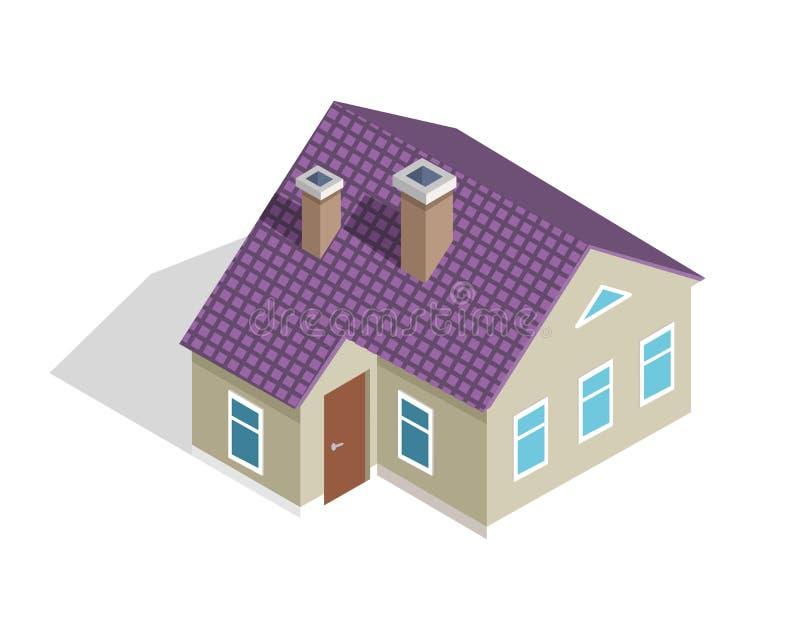 Casa de dos pisos de la cabaña con el tejado, puerta de entrada libre illustration