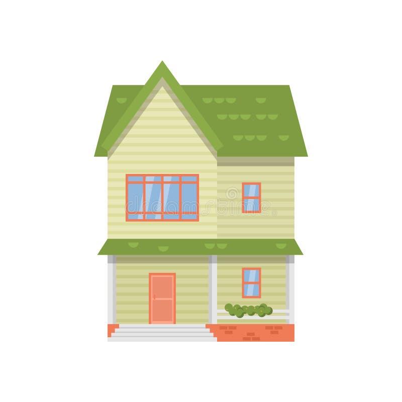 Casa de dos pisos moderna con el tejado verde aislado en el fondo blanco ilustración del vector