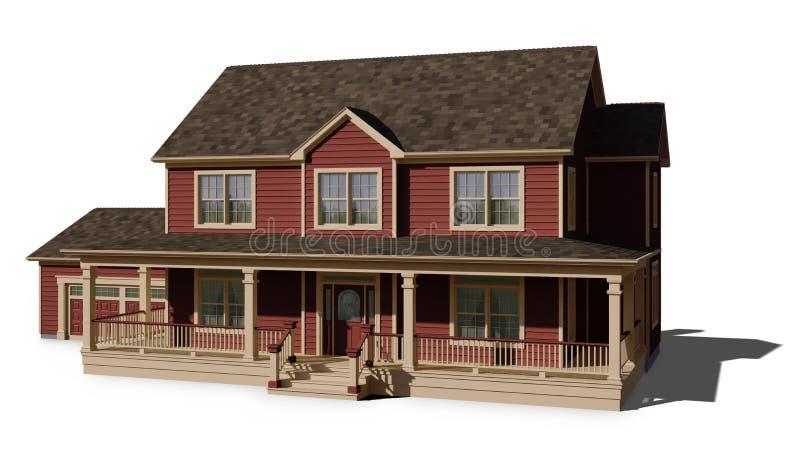 Casa de dos pisos - rojo ilustración del vector