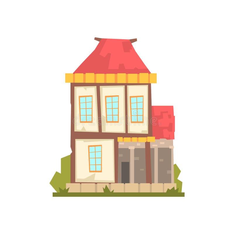 Casa de dos pisos vieja con el tejado rojo, ejemplo retro del vector del edificio de la arquitectura ilustración del vector
