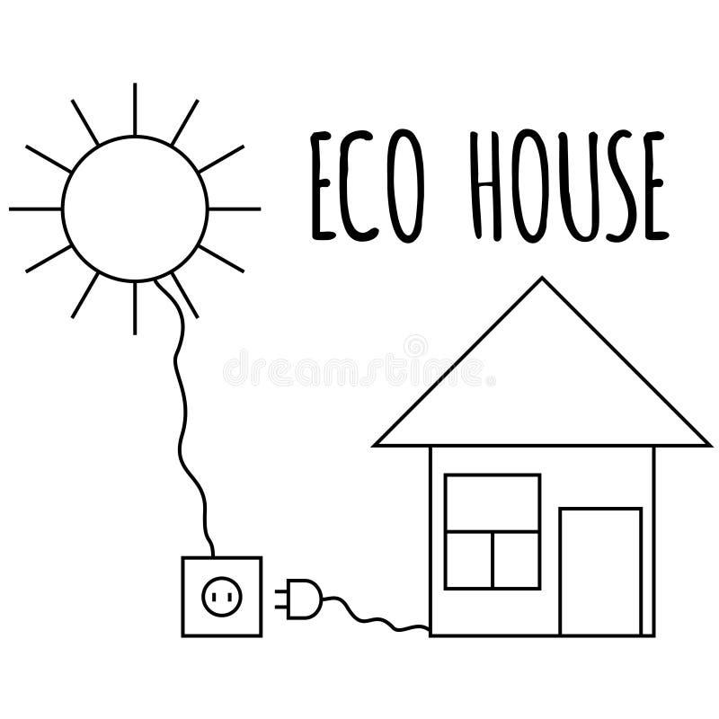 Casa de Eco com bateria do sol casa verde da Baixo-energia Vida da natureza Ilustração do vetor Linha arte ilustração royalty free