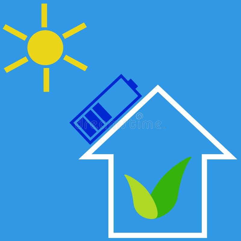 Casa de Eco com bateria solar ilustração do vetor