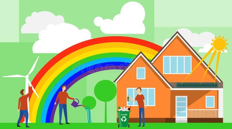 Casa de Eco La mini gente cuida para el hogar del eco y la naturaleza circundante El concepto de sistema del eco libre illustration
