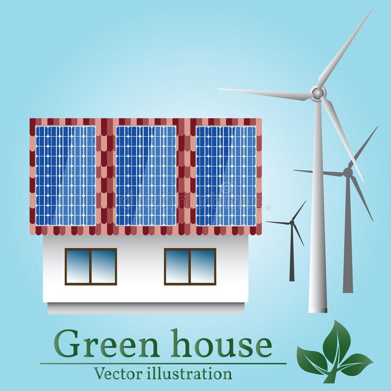 Casa de Eco Viento y energía solar Casa verde ilustración del vector