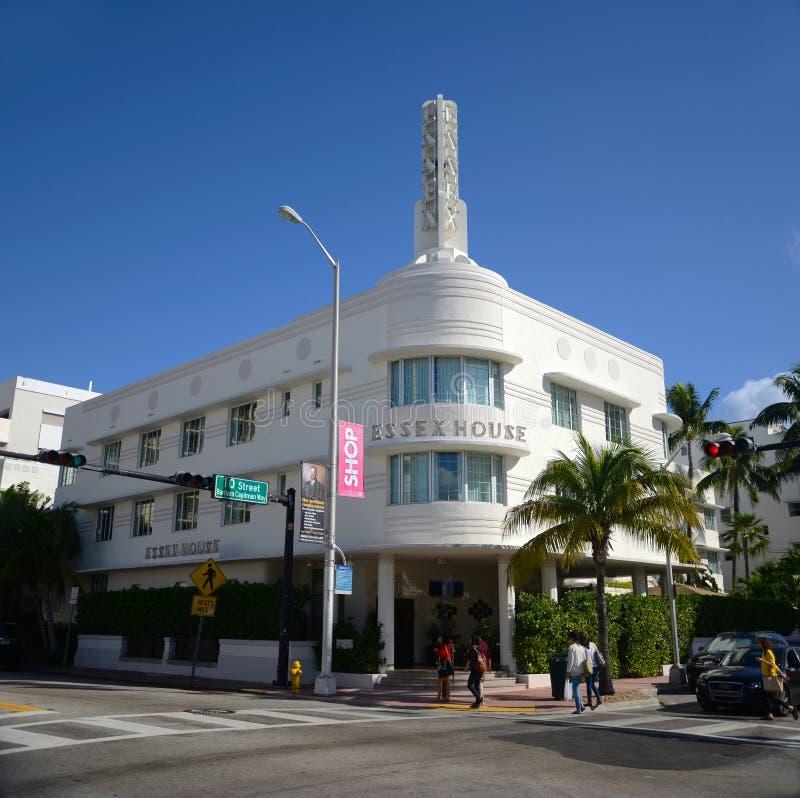 Casa de Essex del estilo del art déco en Miami Beach fotografía de archivo