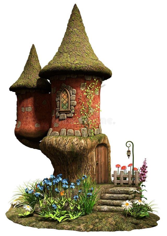 Casa de hadas de la torre del castillo ilustración del vector