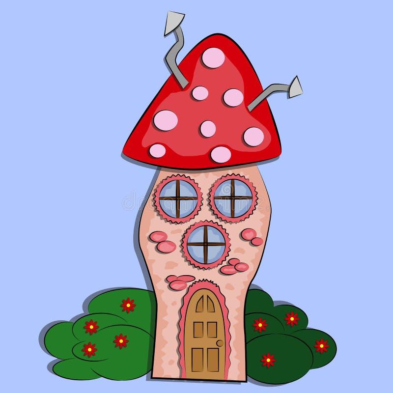 Casa de hadas en la forma de un agárico de mosca aislado en un fondo libre illustration