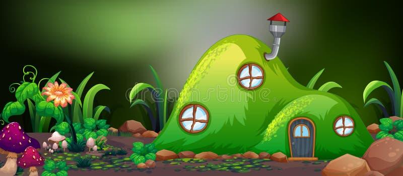 Casa de hadas de la colina en naturaleza ilustración del vector