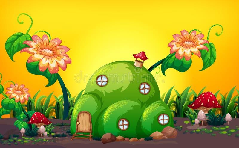 Casa de hadas de la colina verde en naturaleza ilustración del vector
