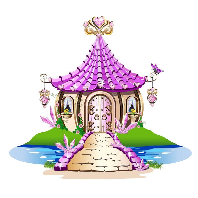 Casa de hadas mágica con los cristales rosados stock de ilustración