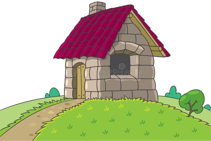 Casa de hadas a partir del cuento de hadas de tres pequeños cerdos stock de ilustración