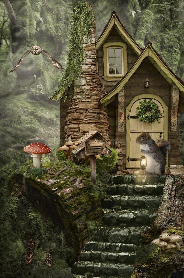 Casa de hadas (tocón) stock de ilustración