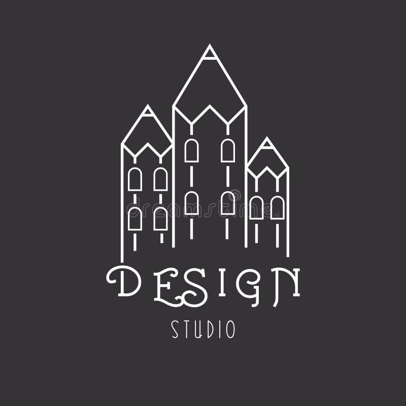 Casa de lápices, estudio del arte del logotipo de la idea libre illustration