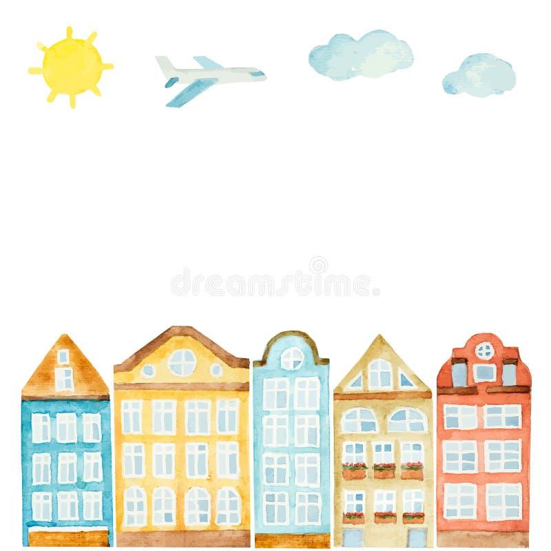 Casa de la acuarela, nubes, aeroplano stock de ilustración