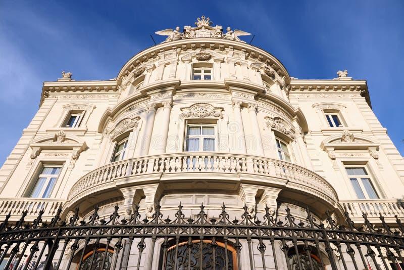 Casa de la America. Madrid, Spain. Casa de la America building, cultural institution promoting cooperation with Latin America. Sunset light royalty free stock image