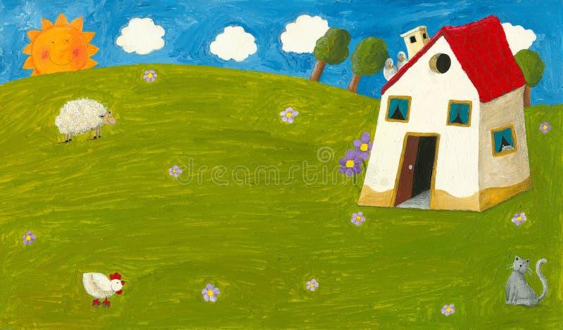 Casa de la cabaña stock de ilustración