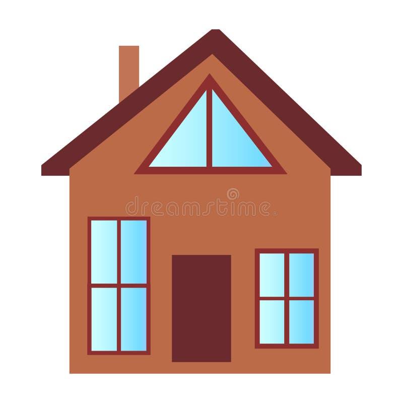 Casa de la cabaña con el piso grande de Windows y del ático ilustración del vector