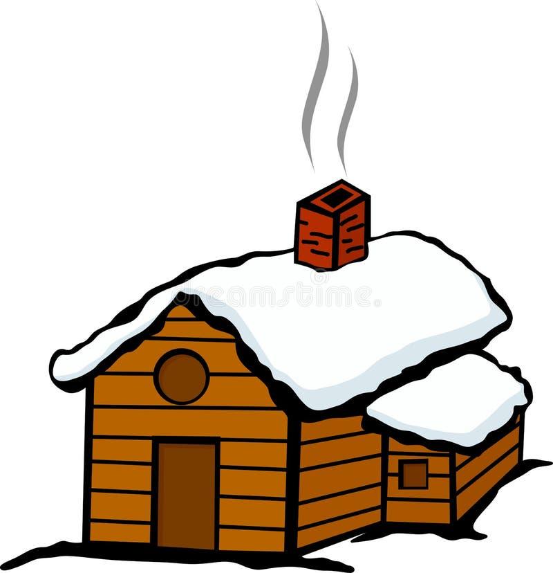 Casa de la cabina del invierno con nieve stock de ilustración