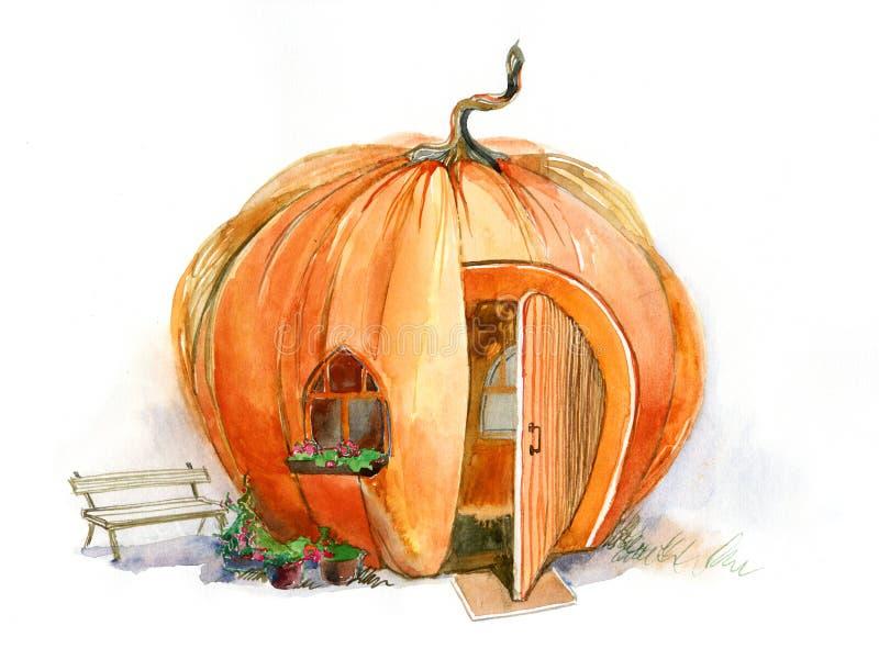 Casa de la calabaza stock de ilustración