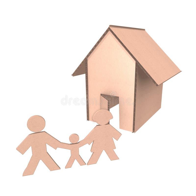 Casa de la cartulina con la familia