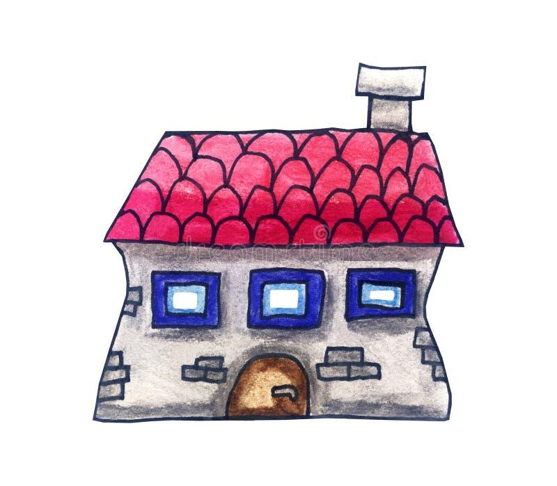 Casa de la fantasía con un tejado rosado stock de ilustración