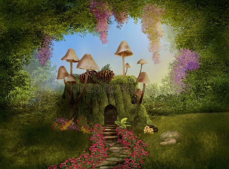 Casa de la fantasía en un tronco de árbol 3d stock de ilustración