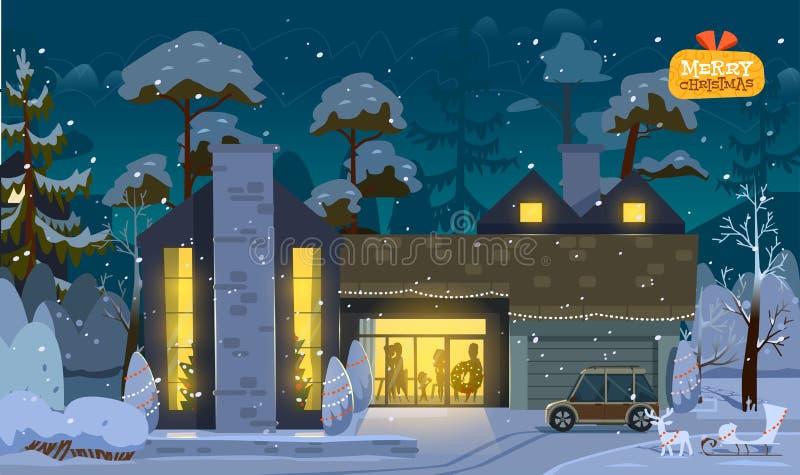 Casa de la Feliz Navidad ilustración del vector