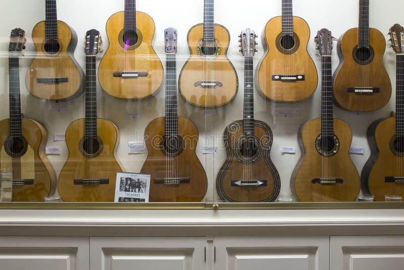 Casa de la Guitarra 佛拉明柯舞曲吉他显示,塞维利亚,西班牙 免版税库存照片