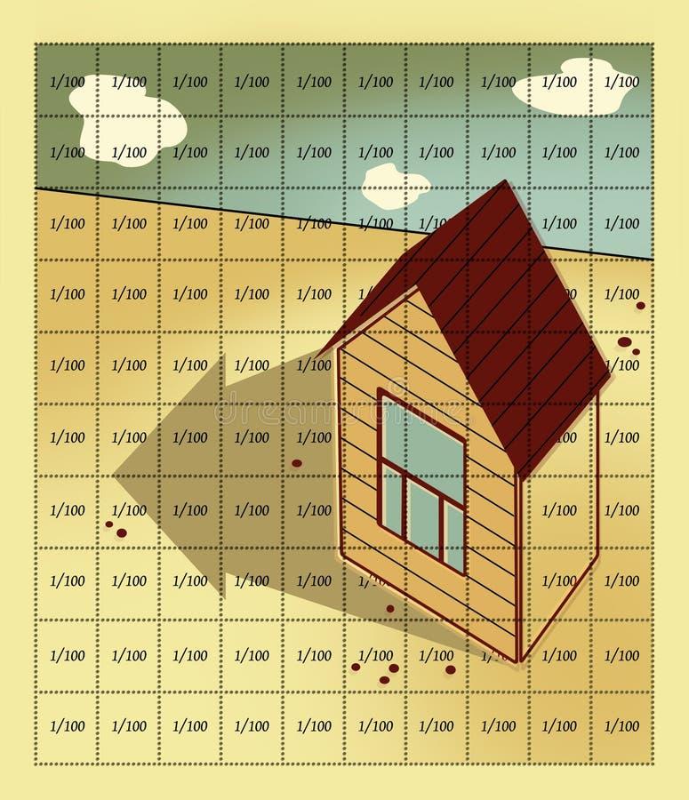 Casa de la hipoteca y del interés con los soportes de un tejado de aguilón y de una ventana en el campo, alineado por 100 células libre illustration