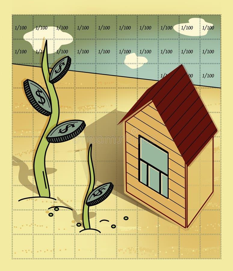 Casa de la hipoteca y del inter?s con los soportes de un tejado de aguil?n y de una ventana en el campo, alineado por 100 c?lulas libre illustration