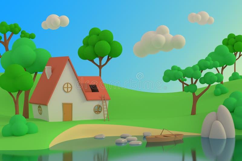Casa de la historieta en el lago o el río en un fondo de árboles 3d rinden ilustración del vector