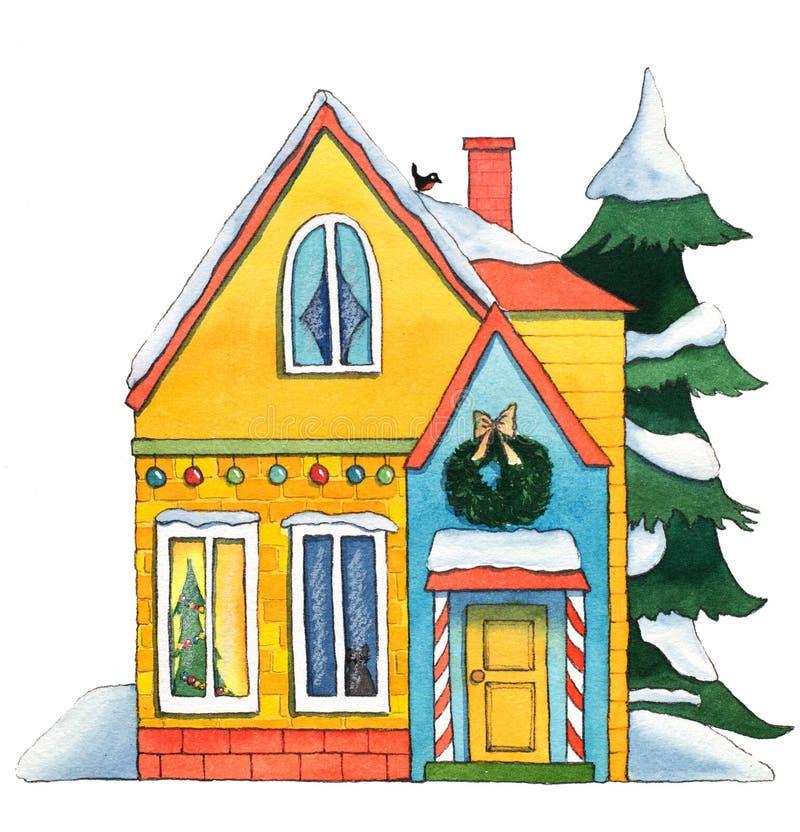 Casa de la Navidad de la acuarela ilustración del vector