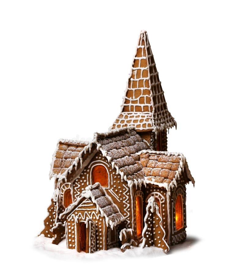 Casa de la Navidad de las galletas del pan de jengibre aislada imagen de archivo