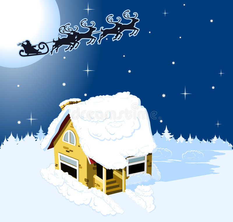 Casa de la Navidad en nieve libre illustration