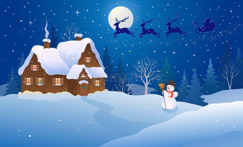 Casa de la Navidad de la historieta ilustración del vector