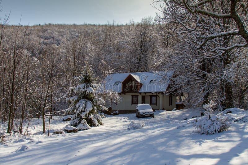 Casa de la nieve imagen de archivo libre de regalías