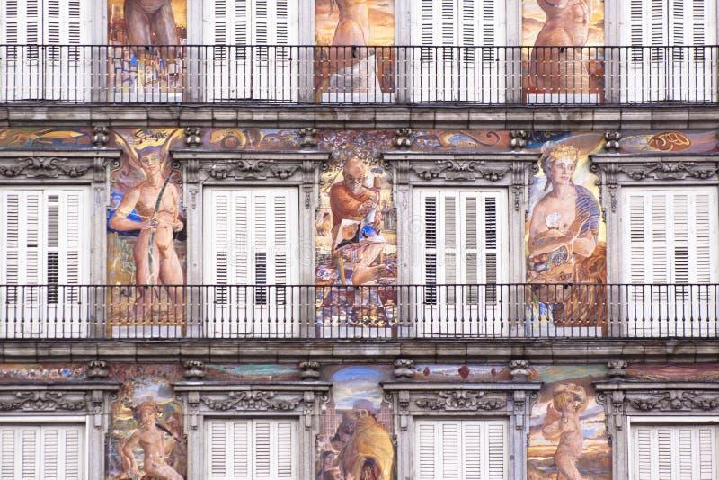 Casa de la Panaderia, maire de plaza, Madrid. image stock