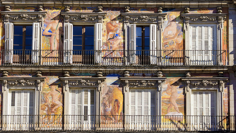 Casa de la Panaderia, prefeito da plaza, Madri, Espanha foto de stock royalty free