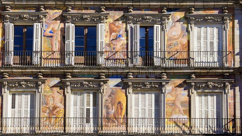 Casa de la Panaderia, sindaco della plaza, Madrid, Spagna fotografia stock libera da diritti