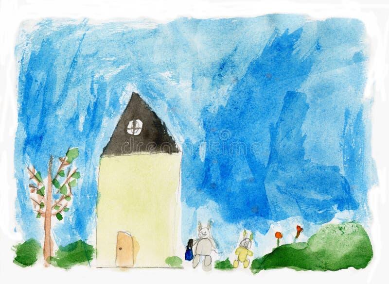 Casa de la pintura de los niños libre illustration