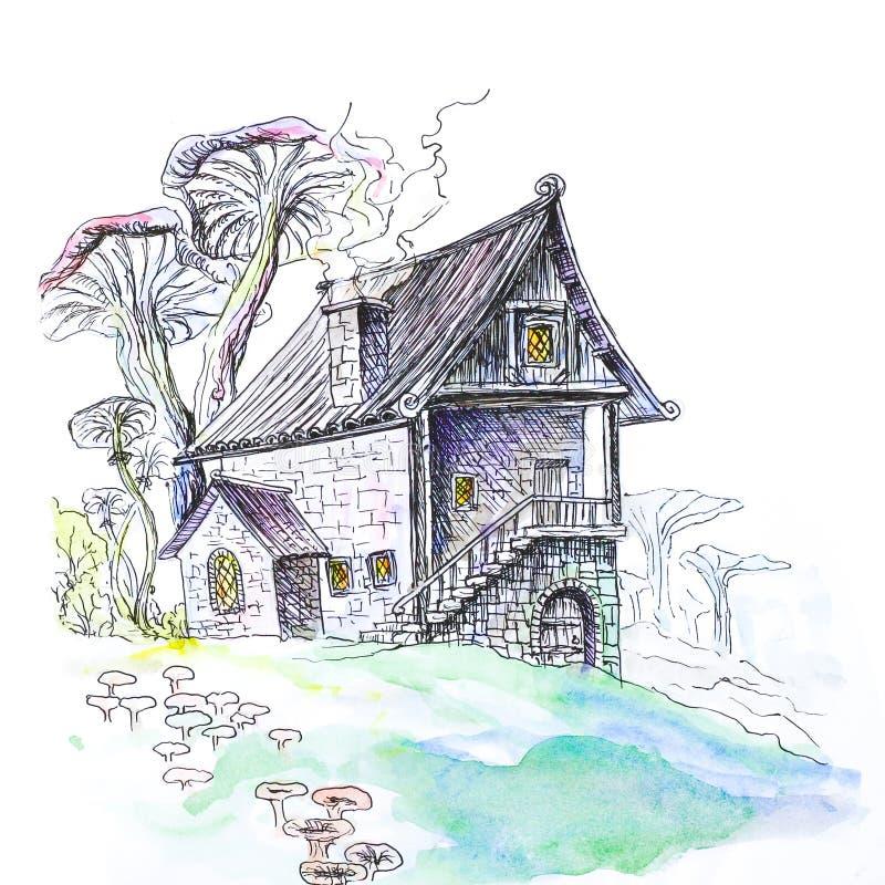 Casa de la seta A mano Un dibujo de la acuarela Cierre para arriba Aislador ilustración del vector