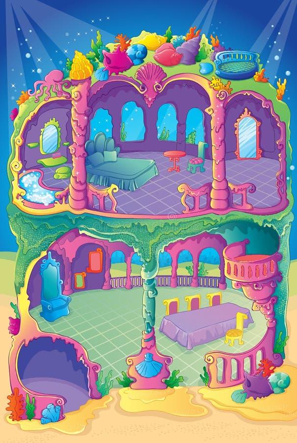 Casa de la sirena del color de la belleza stock de ilustración