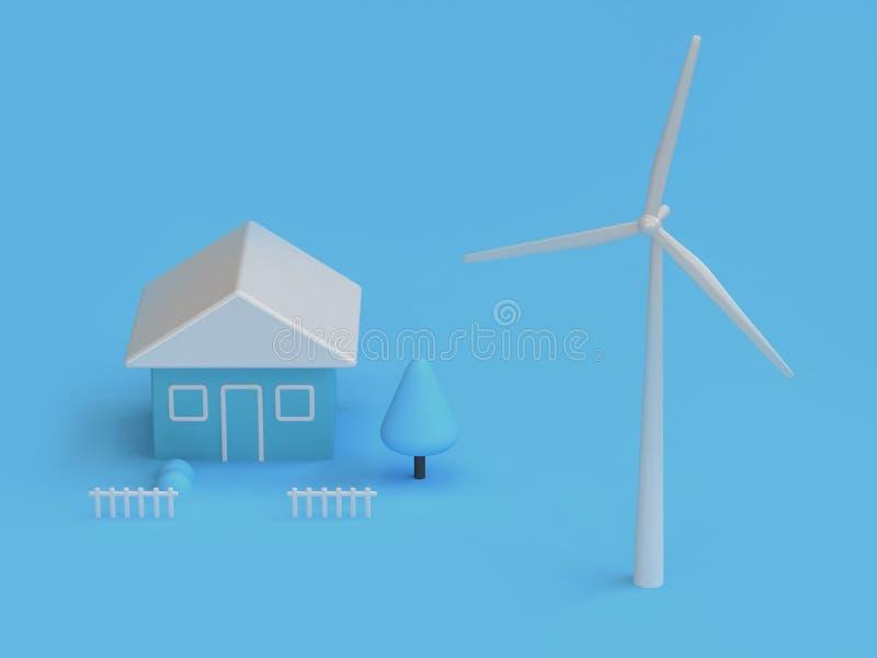 Casa de la turbina de viento de la escena abstracta azul 3d rendir, concepto de la tierra de la reserva del ambiente de la energí libre illustration
