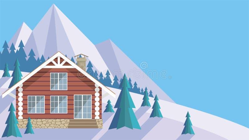 A casa de log ilustração do vetor
