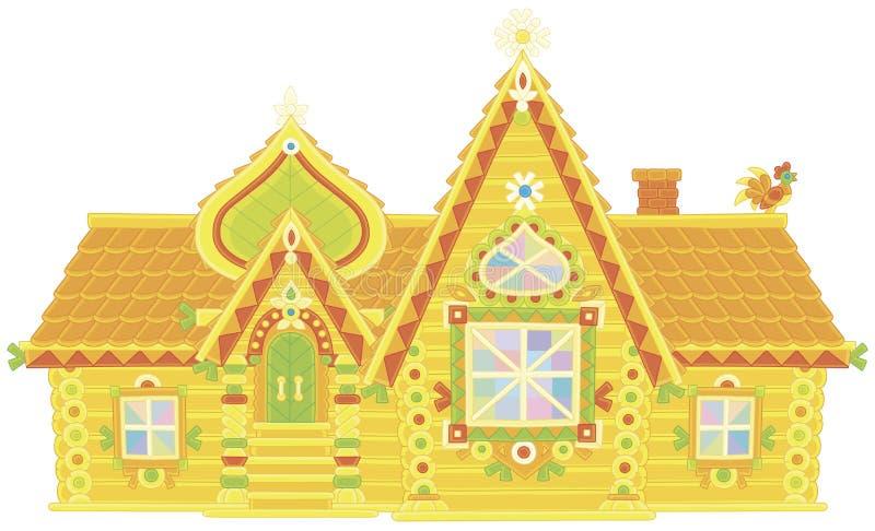 Casa de log ornamentado ilustração stock