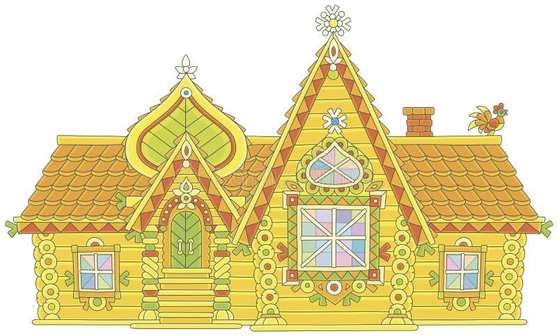 Casa de log ornamentado ilustração royalty free