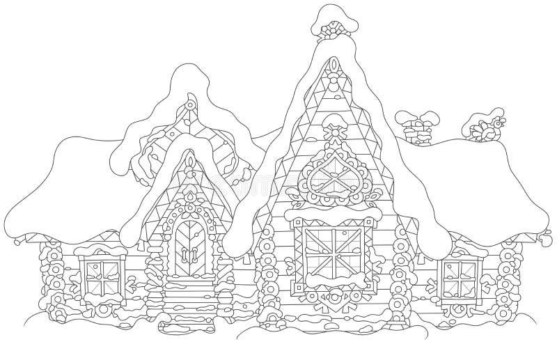 Casa de log ornamentado sob a neve ilustração do vetor