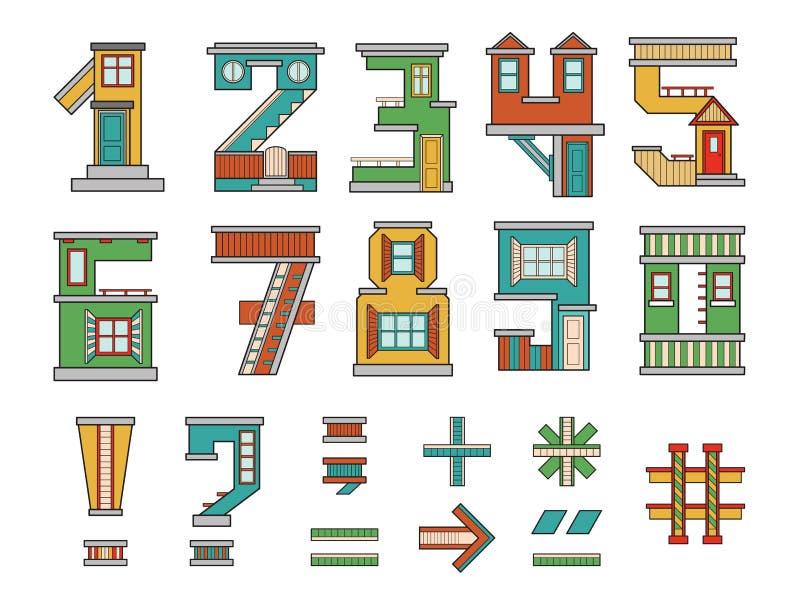 Casa de los números stock de ilustración