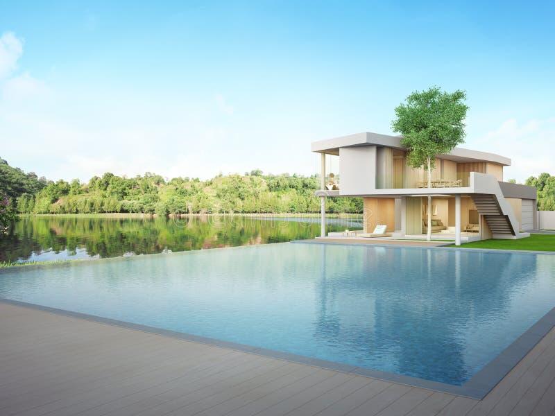 Casa de lujo con la piscina de la opinión del lago y terraza en diseño moderno ilustración del vector