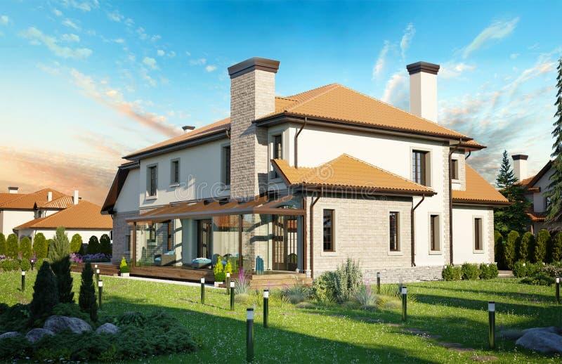 Casa de lujo de la familia con ajardinar ilustración del vector